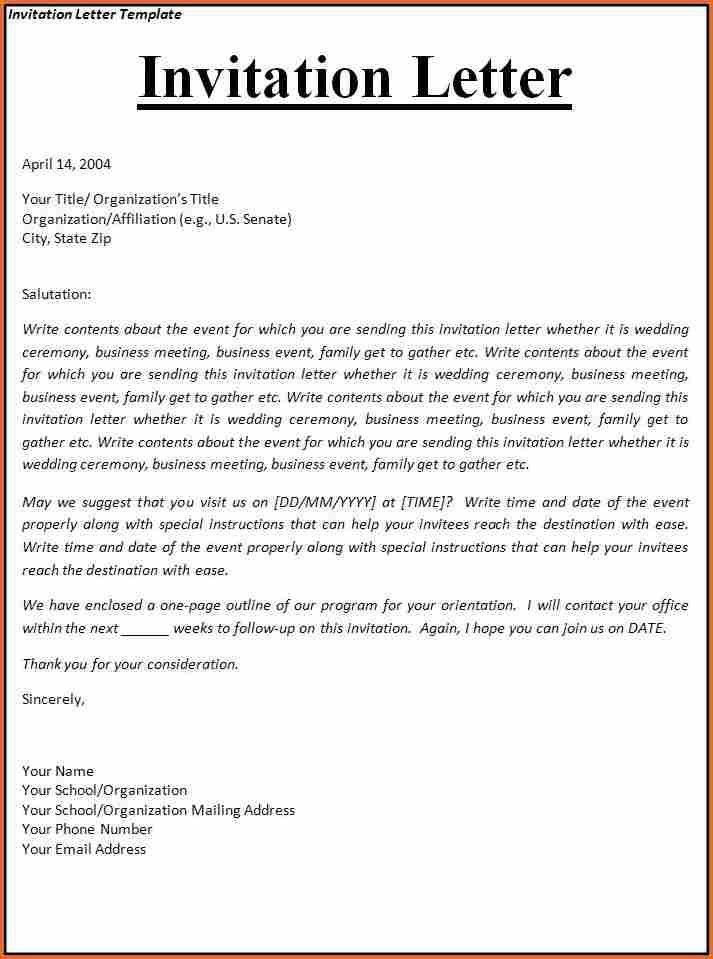 8+ invitation letter informal - Budget Template Letter