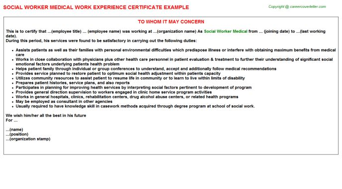Social Worker Medical Work Experience Certificate