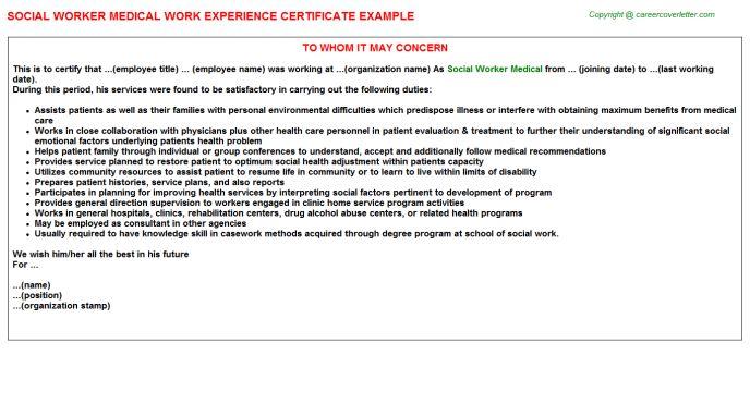 Social Worker Medical Work Experience Certificate