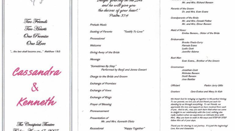 Jump Sample Religious Wedding Program Know Only Part - DIY Wedding ...
