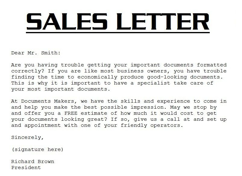 Example Of Sales Letter | www.CheeJunnYeow.com