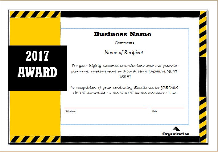 Award Certificate Templates | Document Hub