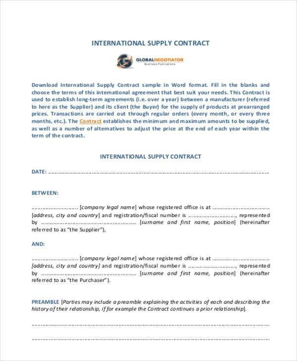Sample Supply Contract Forms - 7+ Free Documents in Word, PDF