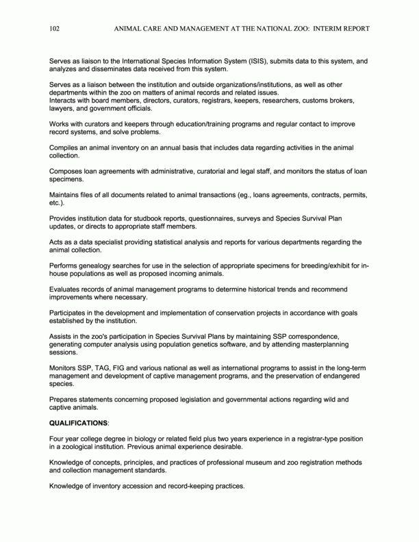 Appendix E: Zoo Registrar - Job Description   Animal Care and ...