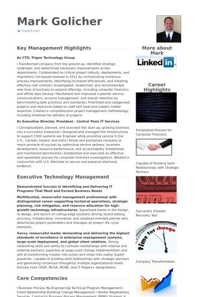 Chief Technology Officer Resume samples - VisualCV resume samples ...