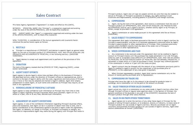 Contract Template Microsoft Word Templates business sales contract ...