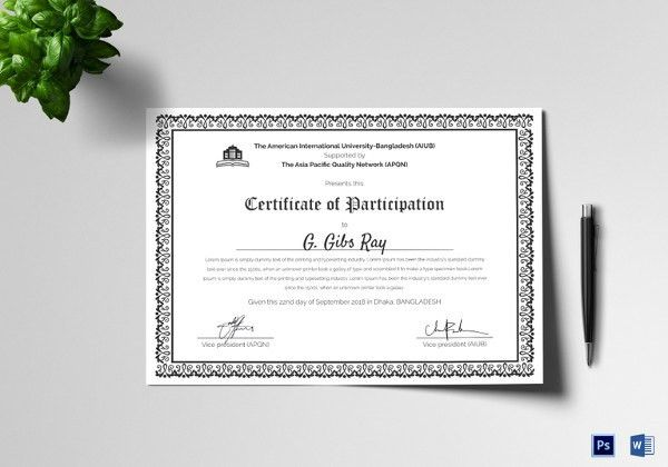 Participation Certificate Template - 21+ Free Word, PDF, PSD ...