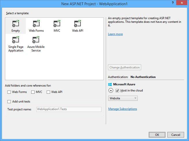 Creating ASP.NET Web Projects in Visual Studio 2013 | Microsoft Docs