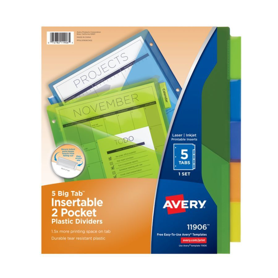 Avery Big Tab Insertable Plastic Dividers Double Pocket Multicolor ...