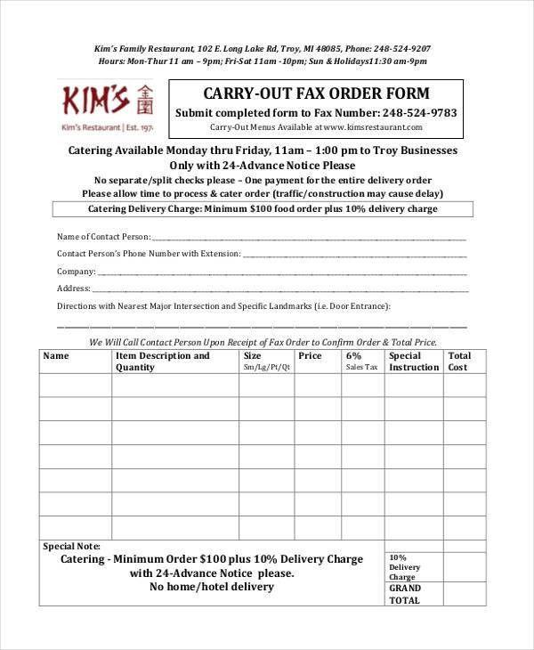11+ Restaurant Order Form Sample - Free Sample, Example Format ...