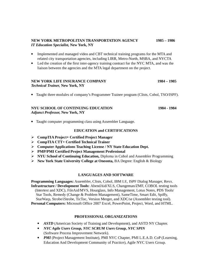 Basic Training Manager Resume Template | page 3