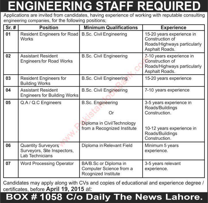Jobs in Lahore April 2015 Civil Engineers, Surveyors, Lab ...