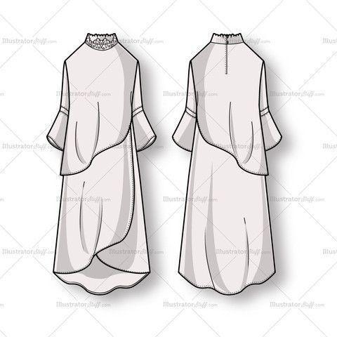 Women's Long Sleeve Flowy Dress Fashion Flat Template | Long ...