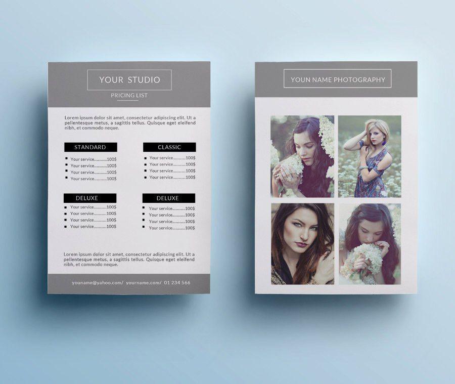 Photography pricing list template elegant price list design