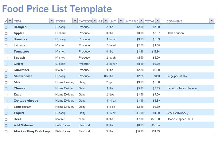 Food Price List Template | Microsoft Excel Templates