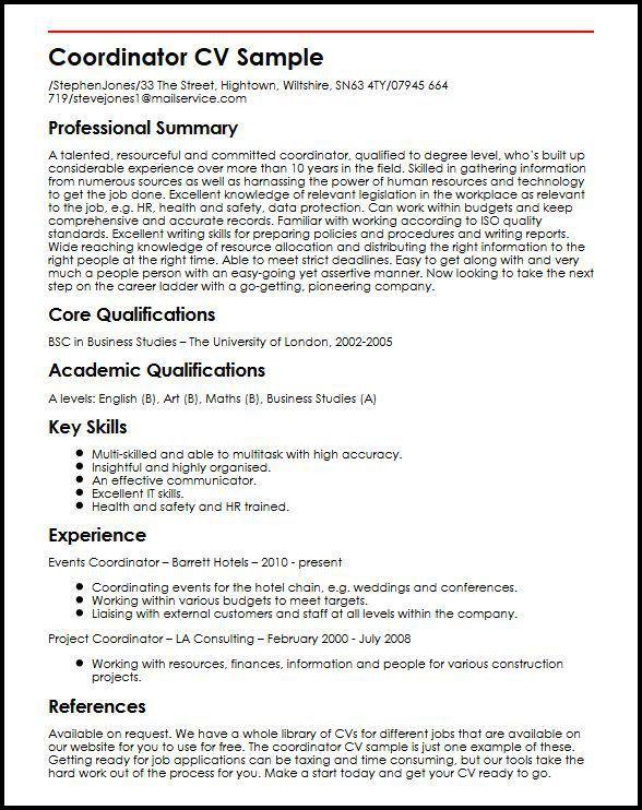 Coordinator CV Sample | MyperfectCV