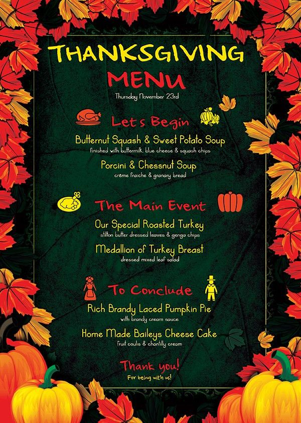 Thanksgiving Menu Template Psd Design for photoshop V.1