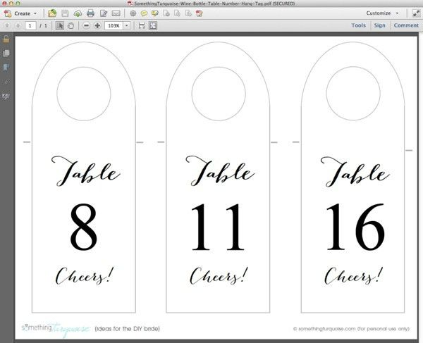 How to make FREE wine bottle table number - hang tags!