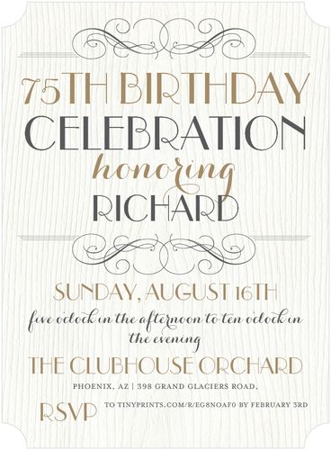 75th Birthday Invitations - 50 Gorgeous 75th Party Invites