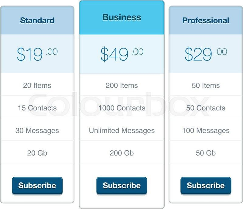 Modern user interface screen price list template for mobile smart ...
