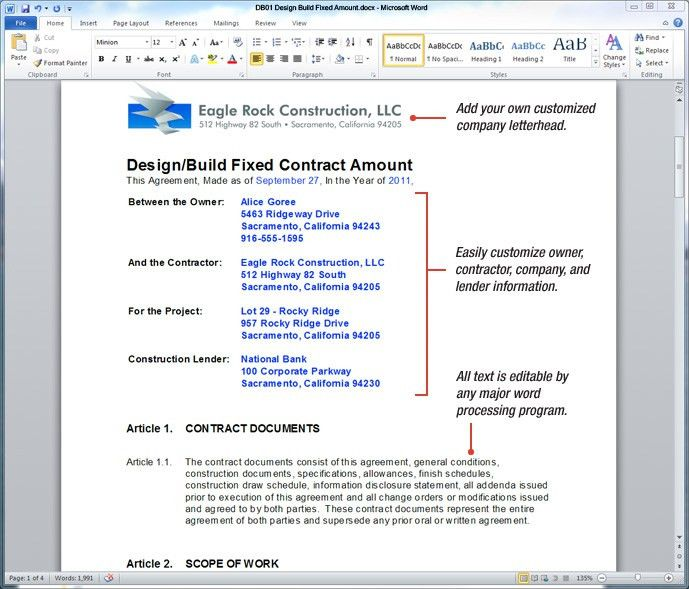 construction contract template word
