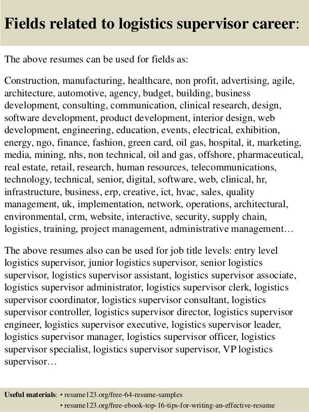 Top 8 logistics supervisor resume samples