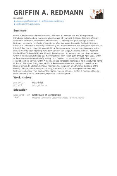 Machinist CV Örneği - VisualCV Özgeçmiş Örnekleri Veritabanı