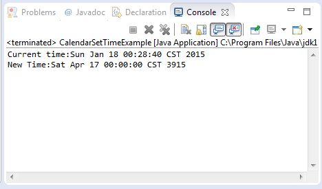Java Calendar setTime(Date date) method example