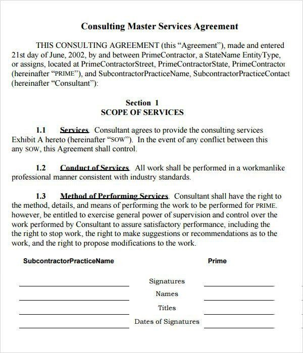 Master Service Agreement Template | Template Design