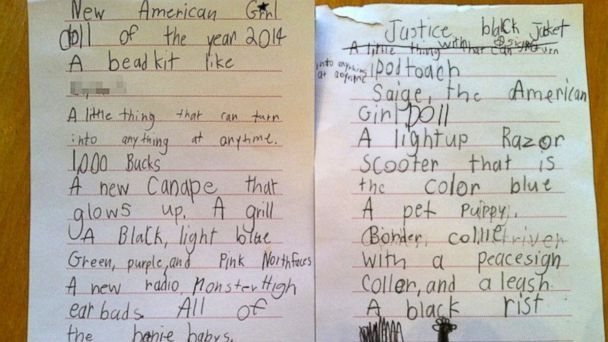 7-Year-Old Girl's Over-The-Top Christmas Wish List Because, Why ...