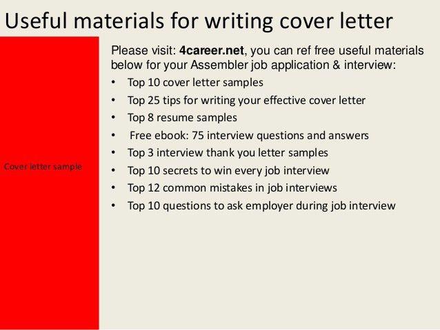 Assembler Cover Letter Electronic Assembler Cover Letter Sample