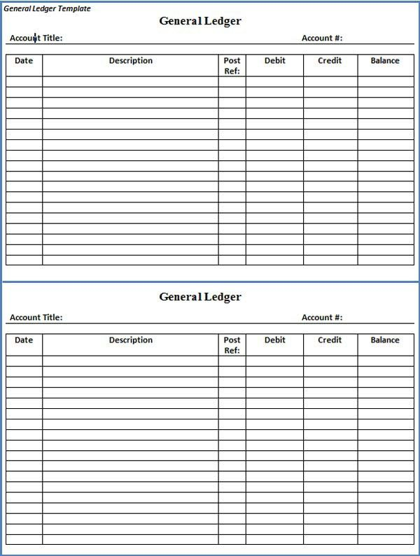 General Ledger Form General Ledger Sheet Template Double Entry – Ledger Format