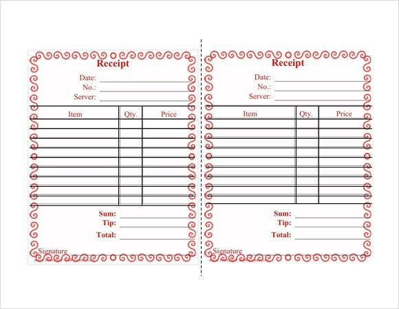 restaurant receipt template free
