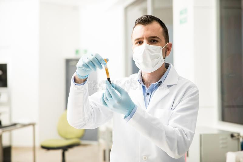 Hispanic Chemist Doing Some Work In A Lab Stock Photo - Image ...