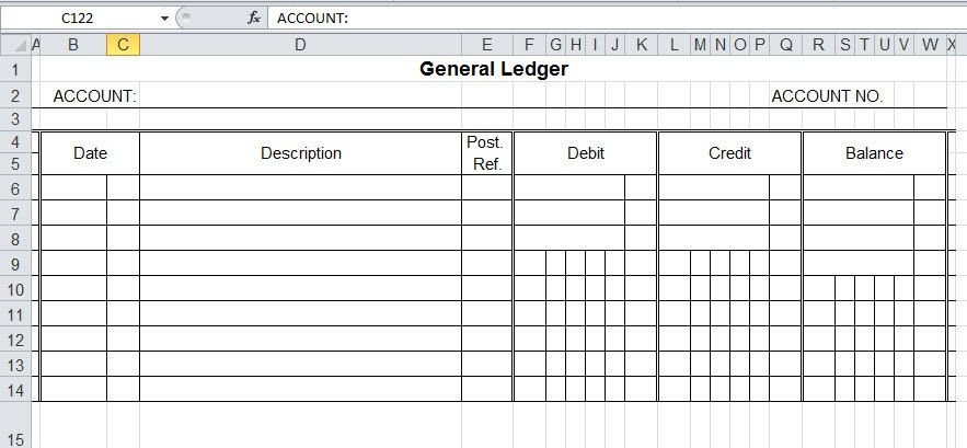 General Ledger Template And Free Download