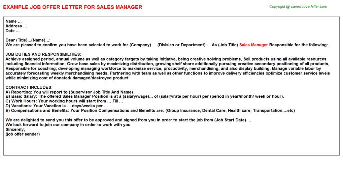 Sales Manager Offer Letter