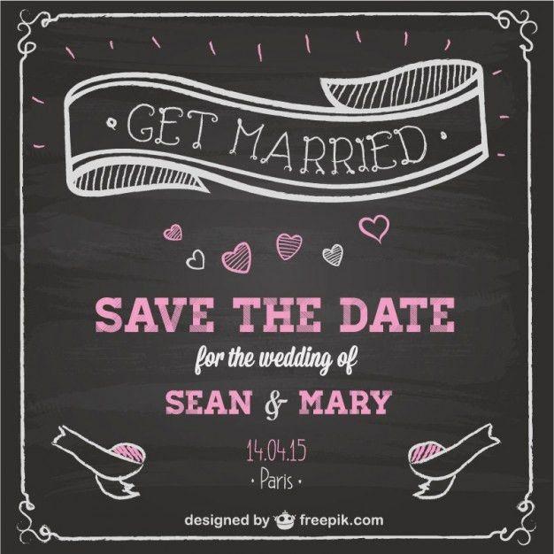 Wedding invitation chalkboard design Vector | Free Download