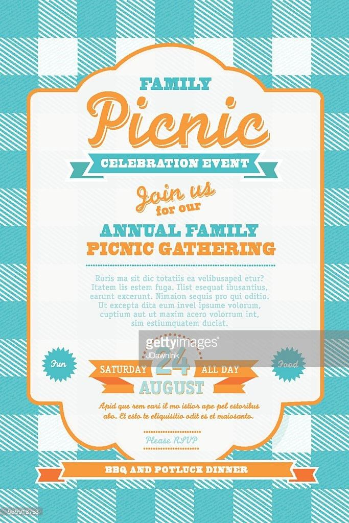 Picnic Invitation Design Template Or Barbecue Invite Vector Art ...