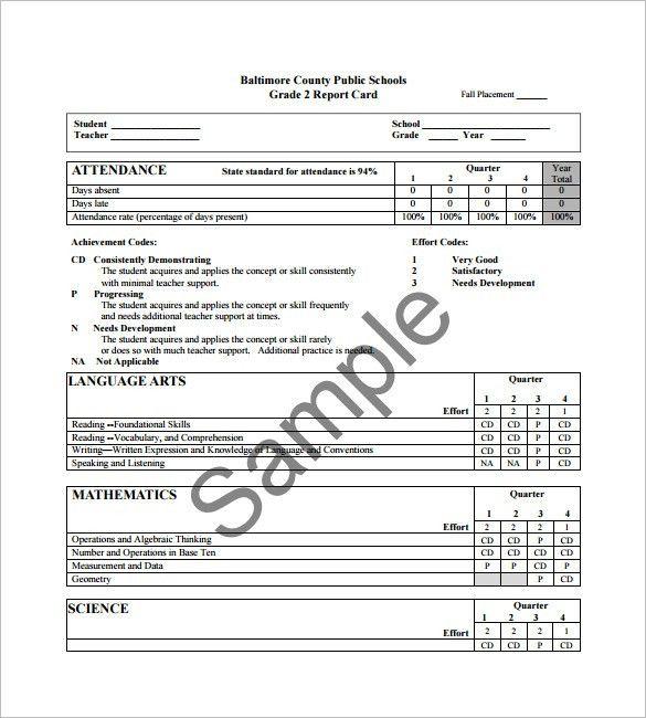 Progress Report Card Template – 12+Free Printable Word, PDF, PSD ...