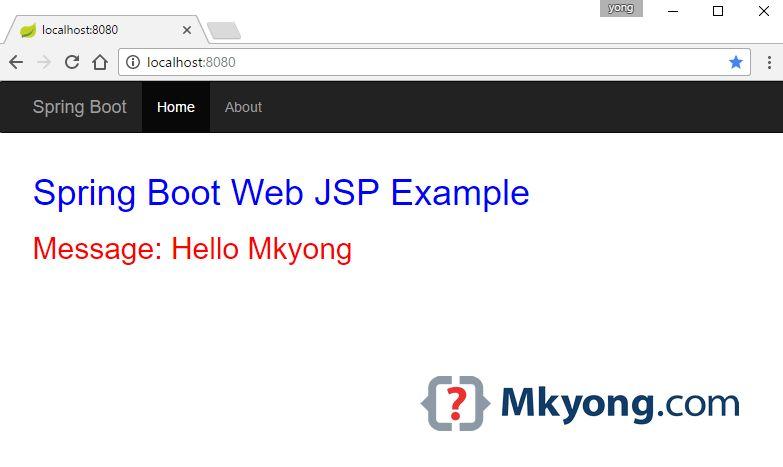 Spring Boot Hello World Example – JSP