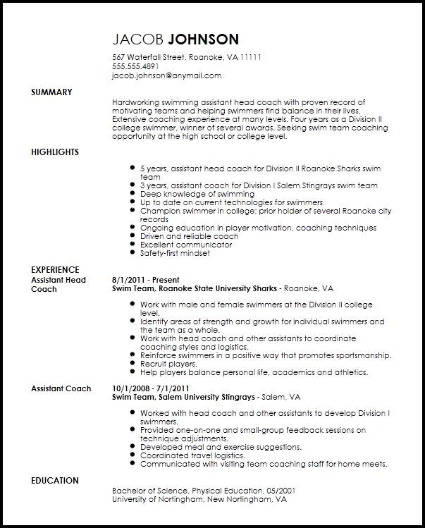 Free Professional Sports Coach Resume Template | ResumeNow
