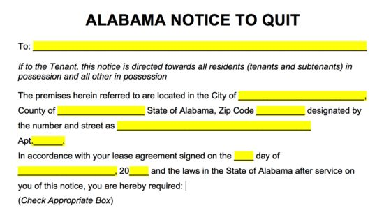 Free Alabama Eviction Notice Forms | Process and Laws - PDF | Word ...