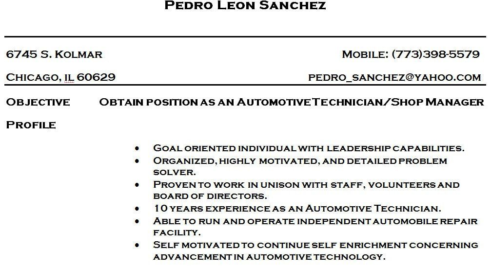 entry level mechanic resume sample. cover letter for auto ...