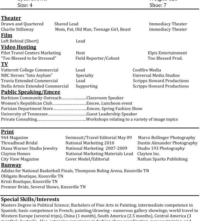 Enjoyable Inspiration Modeling Resume Template 14 Sample Model ...