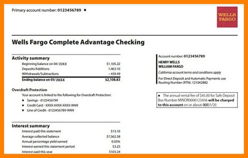 Wells Fargo Bank Statements Template | Best Business Template