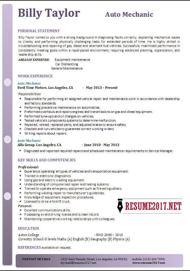 Auto Mechanic Resume Example 2017 •
