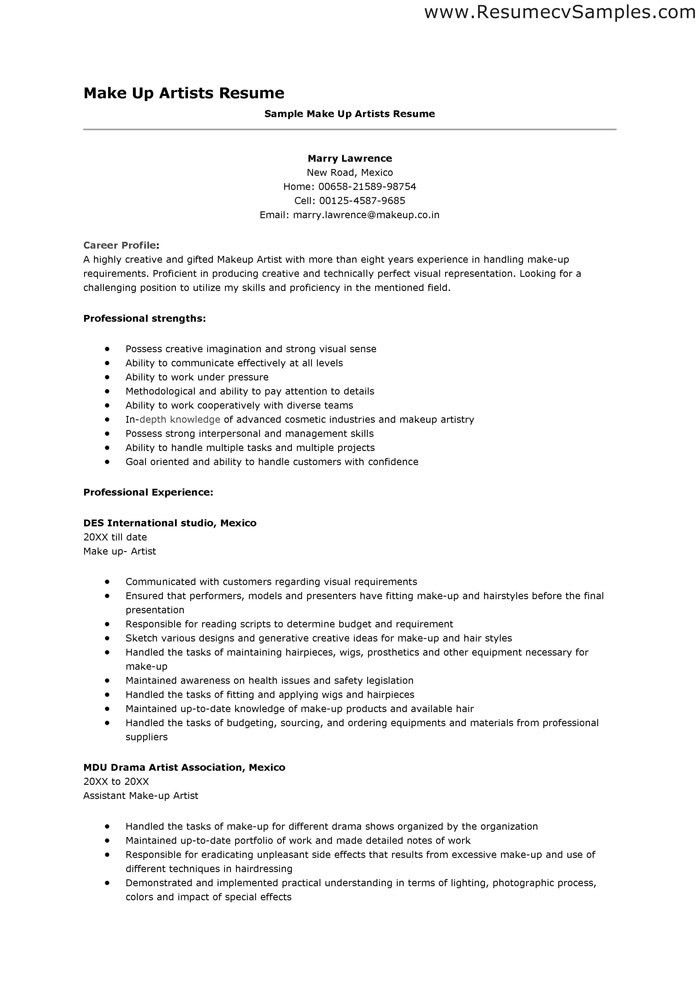sample resume for makeup artist artist resume sample makeup