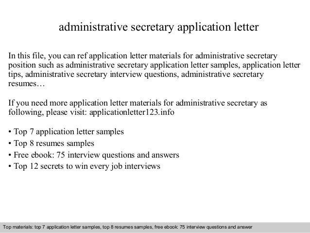 Administrative secretary application letter