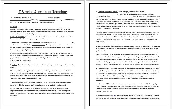 IT service agreement simple | Contract Templates
