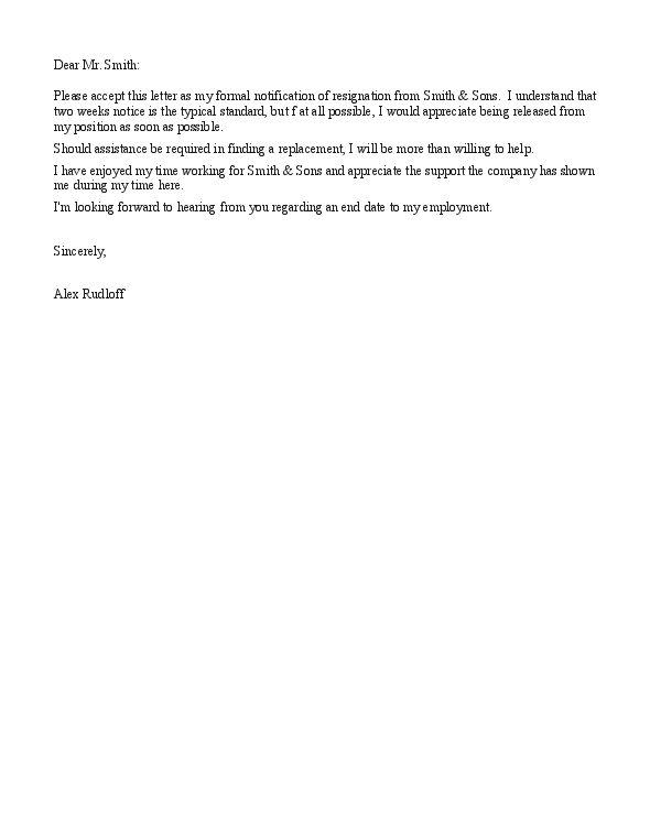 Short Resignation Letter Samples to Help You : Vntask.com